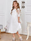Dainty Knee Length Layered Flower Girl Dress with Long Sleeves-White 1