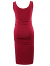 Elastic Bodycon Tank Top Solid Maternity Dresses-Burgundy 2