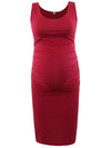 Elastic Bodycon Tank Top Solid Maternity Dresses-Burgundy 1