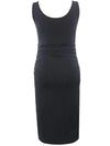 Elastic Bodycon Tank Top Solid Maternity Dresses-Black 2