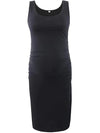 Elastic Bodycon Tank Top Solid Maternity Dresses-Black 1
