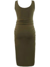 Elastic Bodycon Tank Top Solid Maternity Dresses-Green 2