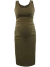 Elastic Bodycon Tank Top Solid Maternity Dresses-Green 1
