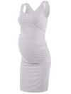 Elastic Bodycon Tank Top Solid Maternity Dresses-Grey 3