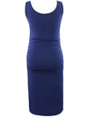 Elastic Bodycon Tank Top Solid Maternity Dresses-Sapphire Blue 2