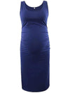 Elastic Bodycon Tank Top Solid Maternity Dresses-Sapphire Blue 1
