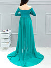 Sexy Off Shoulder Long Maternity Formal Dresses For Shoot-Green 2