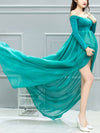 Sexy Off Shoulder Long Maternity Formal Dresses For Shoot-Green 3