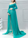 Sexy Off Shoulder Long Maternity Formal Dresses For Shoot-Green 4