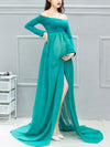 Sexy Off Shoulder Long Maternity Formal Dresses For Shoot-Green 1