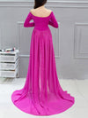 Sexy Off Shoulder Long Maternity Formal Dresses For Shoot-Hot Pink 2