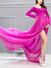 Sexy Off Shoulder Long Maternity Formal Dresses For Shoot-Hot Pink 3