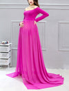 Sexy Off Shoulder Long Maternity Formal Dresses For Shoot-Hot Pink 4