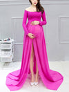 Sexy Off Shoulder Long Maternity Formal Dresses For Shoot-Hot Pink 1