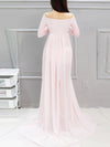 Sexy Off Shoulder Long Maternity Formal Dresses For Shoot-Pink 2