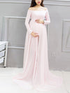 Sexy Off Shoulder Long Maternity Formal Dresses For Shoot-Pink 1