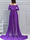 Sexy Off Shoulder Long Maternity Formal Dresses For Shoot-Purple 2