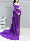 Sexy Off Shoulder Long Maternity Formal Dresses For Shoot-Purple 4