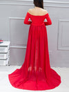 Sexy Off Shoulder Long Maternity Formal Dresses For Shoot-Red 2