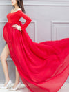 Sexy Off Shoulder Long Maternity Formal Dresses For Shoot-Red 3