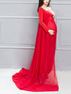 Sexy Off Shoulder Long Maternity Formal Dresses For Shoot-Red 4