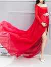 Sexy Off Shoulder Long Maternity Formal Dresses For Shoot-Red 1