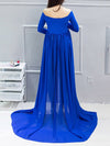 Sexy Off Shoulder Long Maternity Formal Dresses For Shoot-Sapphire Blue 2