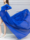 Sexy Off Shoulder Long Maternity Formal Dresses For Shoot-Sapphire Blue 3