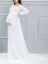 Sexy Off Shoulder Long Maternity Formal Dresses For Shoot-White 4