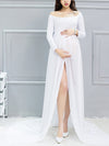 Sexy Off Shoulder Long Maternity Formal Dresses For Shoot-White 1