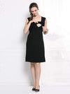 Fashion Breastfeeding Sleeveless Bottoming Maternity Dress-Black 1