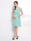 Fashion Breastfeeding Sleeveless Bottoming Maternity Dress-Mint Green 2