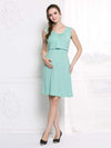 Fashion Breastfeeding Sleeveless Bottoming Maternity Dress-Mint Green 1