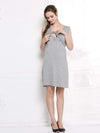 Fashion Breastfeeding Sleeveless Bottoming Maternity Dress-Grey 2