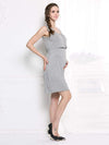 Fashion Breastfeeding Sleeveless Bottoming Maternity Dress-Grey 3