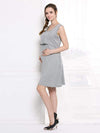 Fashion Breastfeeding Sleeveless Bottoming Maternity Dress-Grey 1