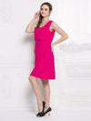 Fashion Breastfeeding Sleeveless Bottoming Maternity Dress-Hot Pink 1