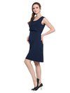 Fashion Breastfeeding Sleeveless Bottoming Maternity Dress-Navy Blue 1
