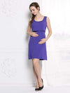 Fashion Breastfeeding Sleeveless Bottoming Maternity Dress-Purple 3