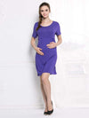 Fashion Breastfeeding Sleeveless Bottoming Maternity Dress-Purple 1