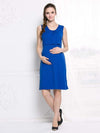 Fashion Breastfeeding Sleeveless Bottoming Maternity Dress-Sapphire Blue 1