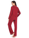 Women'S Long-Sleeve Full-Length Cosy Home Suit-Burgundy 2