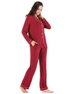 Women'S Long-Sleeve Full-Length Cosy Home Suit-Burgundy 3
