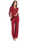 Women'S Long-Sleeve Full-Length Cosy Home Suit-Burgundy 4