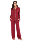 Women'S Long-Sleeve Full-Length Cosy Home Suit-Burgundy 1