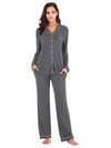 Women'S Long-Sleeve Full-Length Cosy Home Suit-Grey 1