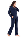 Women'S Long-Sleeve Full-Length Cosy Home Suit-Navy Blue 2