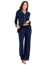 Women'S Long-Sleeve Full-Length Cosy Home Suit-Navy Blue 3
