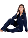 Women'S Long-Sleeve Full-Length Cosy Home Suit-Navy Blue 4