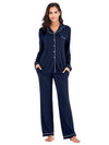 Women'S Long-Sleeve Full-Length Cosy Home Suit-Navy Blue 1